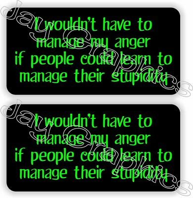 Pair Funny Manage My Anger Hard Hat Stickers Helmet Decals Construction Quote