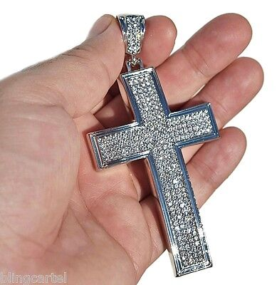 - Cross Micro Pave Iced-Out Chunky Hip Hop Pendant Silver Tone Bling Jesus Piece
