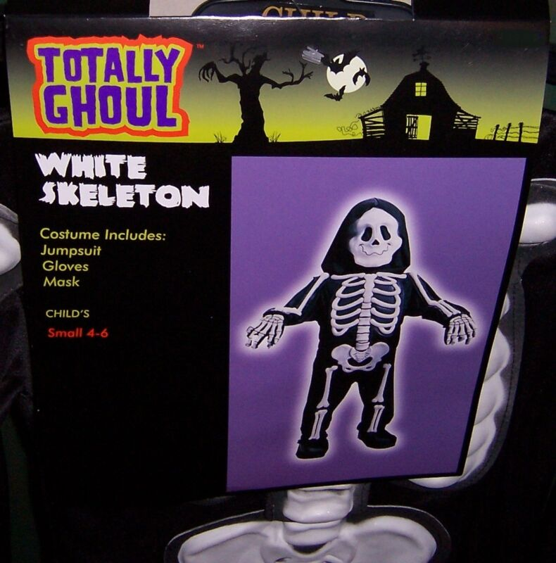 TOTALLY GHOUL WHITE SKELETON  HALLOWEEN COSTUME NWT!  CHILDS SIZE SMALL