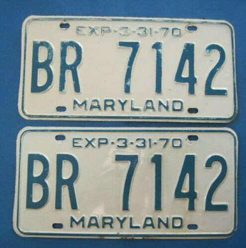 1970 Maryland License Plates Matched Pair