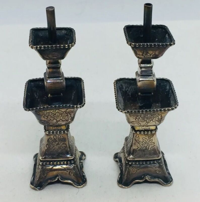 Antique Chinese Sterling Silver Floral Pair Miniature Candlesticks