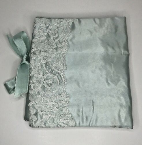 Vintage Satin Lingerie Hankie Pouch Andre Richard Lt Green White Lace Ribbons
