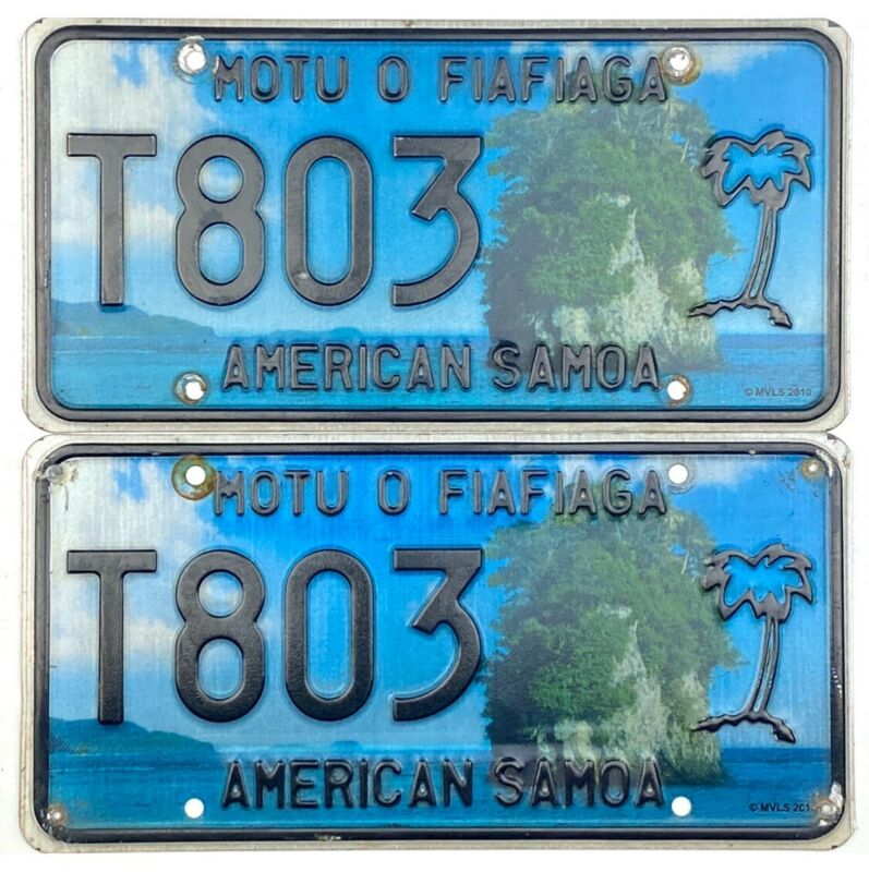 2011 Base American Samoa TAXI Graphics License Plate #803