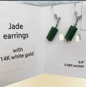 Hand- crafted Genuine Jade/14k  Solid White Gold Earrings