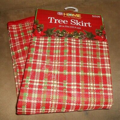 Rite Aid Home For The Holidays 48 Inch Tree Skirt Red Plaid New