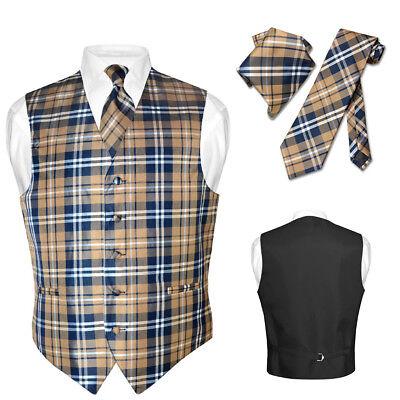Men's Plaid Design Dress Vest NeckTie Navy BROWN White Neck Tie Hanky Suit Tux (Mens Brown Vest)