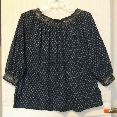 Chaps Navy Floral Peasant Top, 3/4 sleeves, elastic neck Sizes 1X, 3X NWT
