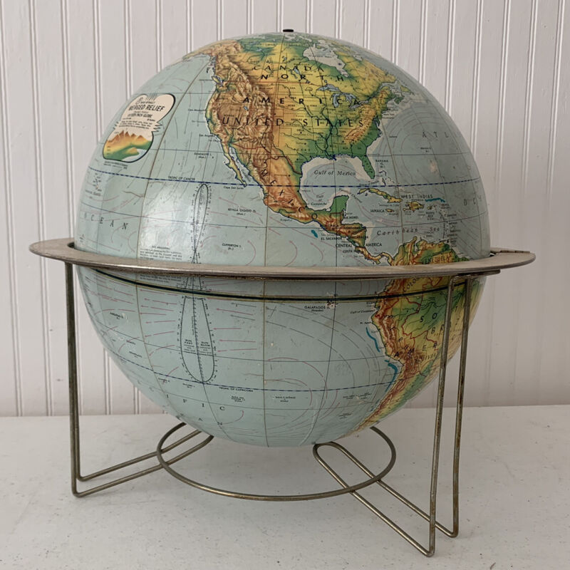"""Vintage Mid Century Rand McNally 16"""" Globe Metal Stand Base Merged Relief"""