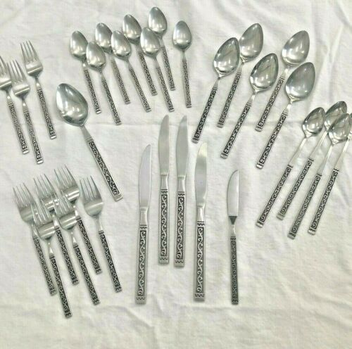 Rare 41 Piece Stylecraft SYF33 Stainless Scrolls and Dots Flatware