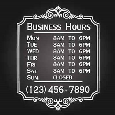 Custom Business Store Hours Vinyl Window Decal 12x18 Outdoor Sticker Sign Door