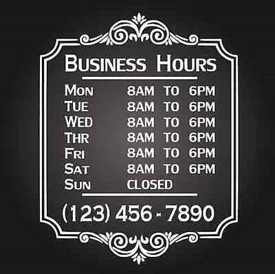 """Custom Business Store Hours Vinyl Window Decal 12""""x18"""" Outdoor Sticker Sign Door"""