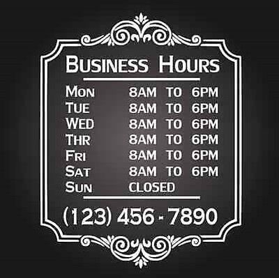 Custom Business Store Hours Vinyl Window Decal 12
