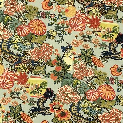 Schumacher Chiang Mai Dragon LINEN in Aquamarine by the yard New! Continuous