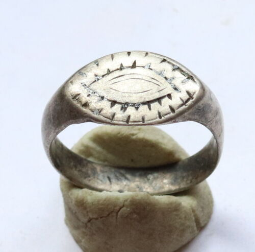 Ancient VIKING Silver Ring Runic Ornament C.850-1050 AD.VERY RARE