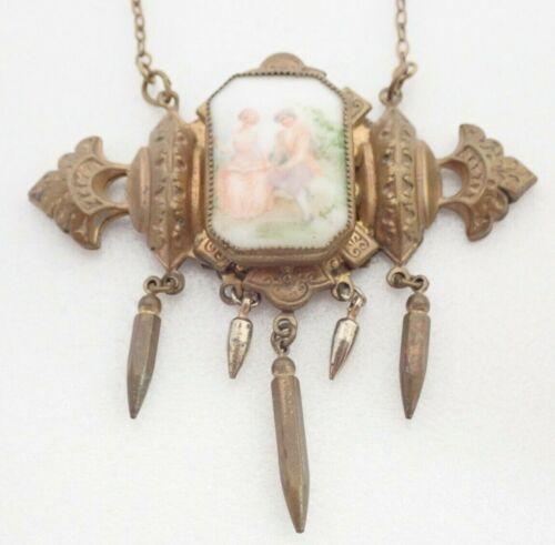 Antique Porcelain Victorian Couple Scene Brass Dangle Pendant Necklace