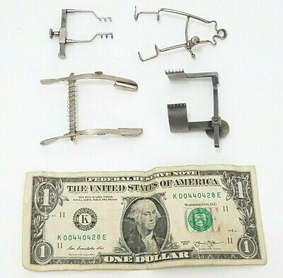 Medical Eye Lid Ophthalmology Clamps - Surgical Examination Equipment - Lot Of 4