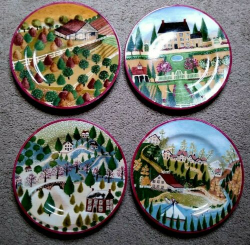 Block Gear 4 Vintage Plates 4 Seasons COUNTRY VILLAGE Salad/Dessert  EUC