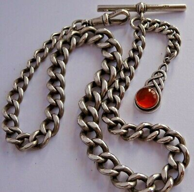 Fantastic antique graduated solid silver pocket watch albert chain & amber fob