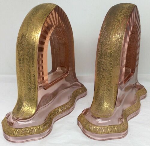 VERY RARE Pink Depression Glass Bookends Gold Gilding Art Deco Victorian Library