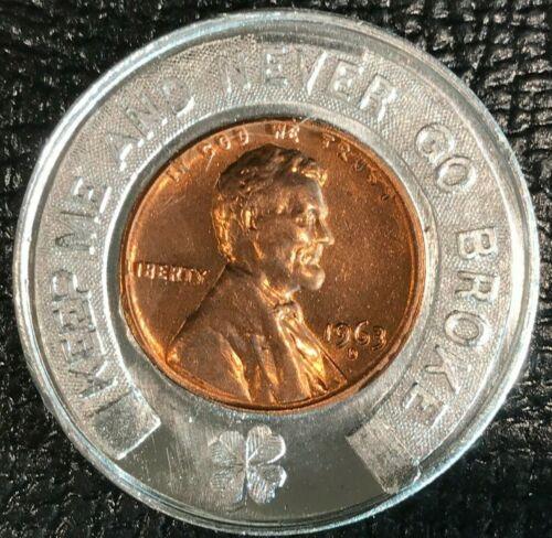 ENCASED COIN AU 1963 D LINCOLN CENT ANTHONY WAYNE BANK FORT WAYNE IND-0CT135
