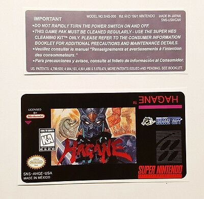 Used, REPLACEMENT SNES CARTRIDGE STICKER LABELS FOR: HAGANE for sale  Canada
