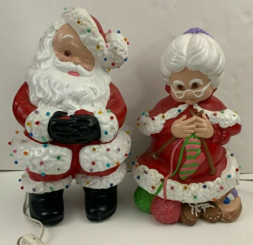 Vintage Atlantic Mold Ceramic Mr & Mrs Santa Claus Winking Knitting Light Up!