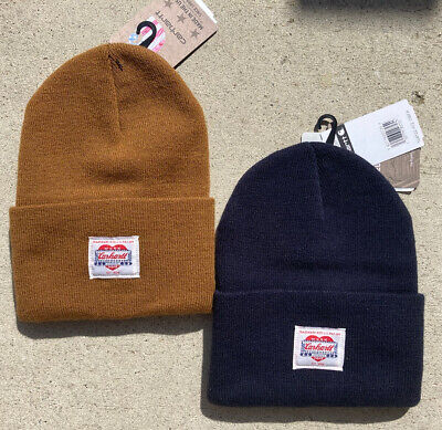 NWT Carhartt Heritage Beanie-Set of 2- Navy Blue/Brown-Unisex-104132-Iconic-USA