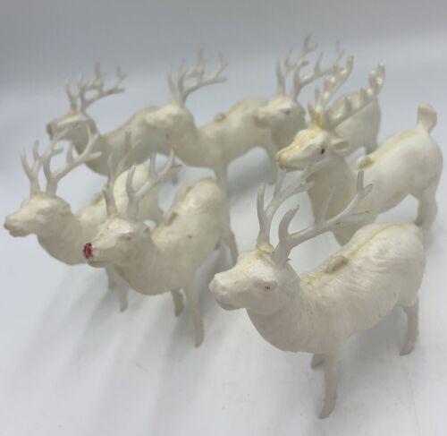 Vintage Mixed Lot 7 Christmas White Hard Plastic Reindeer 1950s