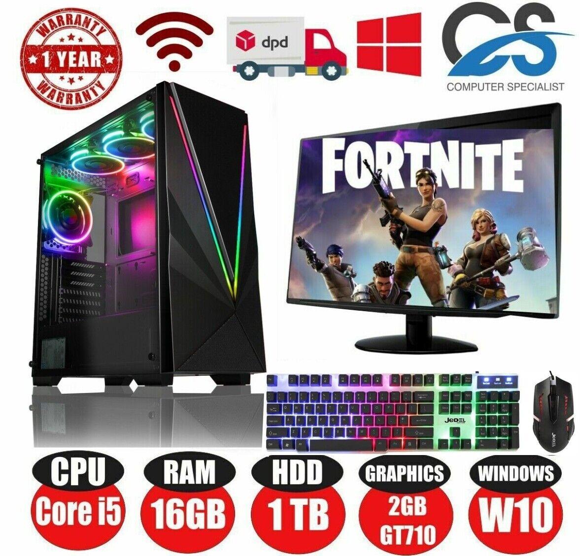 Computer Games - RED Gaming PC Computer Bundle Intel Quad Core i5 16GB 1TB Windows 10 2GB GT710