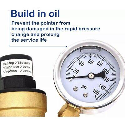 Accumeter 34 Lead-free Brass Water Pressure Regulator With Gauge Adjustable Rv