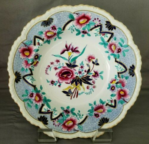 "10"" Antique Early 19th Century English Fancy Ironstone Bowl JWR Ridgway England"