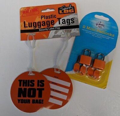 2 x Travel Suitcase Luggage Tags not your bag & 2 orange Padlocks