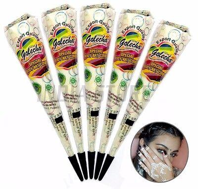 5x Golecha White Henna Paste Cones (Weisse Kegel Paste) No PPD, NO Ammonia, 125g