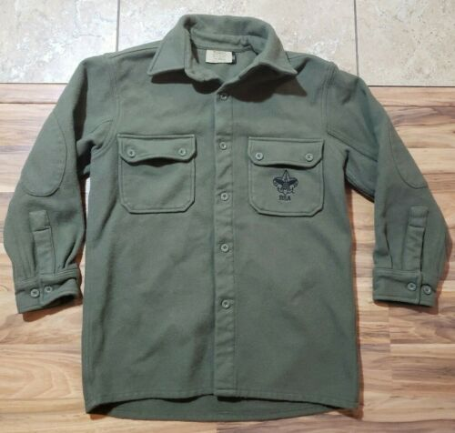 Boy Scouts Of America Green Wool Button Jacket Shirt Adult Size Small