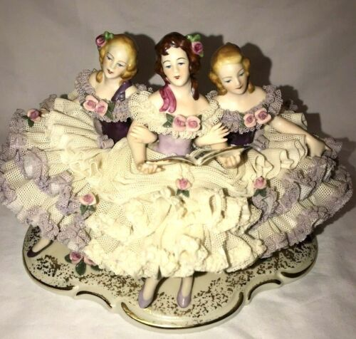 """Dresden Lace Porcelain Figurine 3 Ladies Singing Music Notes Germany 6 X 9"""""""