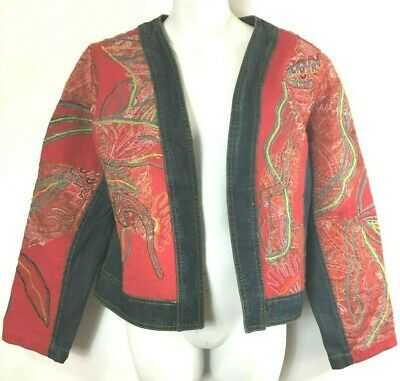 Chicos Jacket Jean Denim Open Front Red Embroidered Size 1 Medium