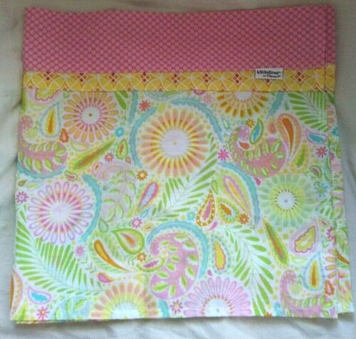 Kidsline by Dena Window Valance Pink Dots Paisley Print Yellow Green Blue
