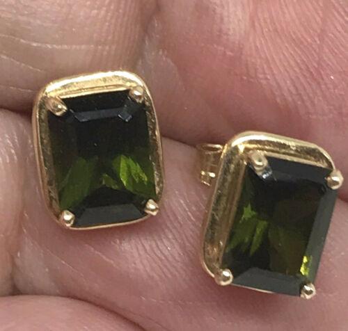 Vintage Estate 14K Emerald Cut Green Tourmaline Earrings