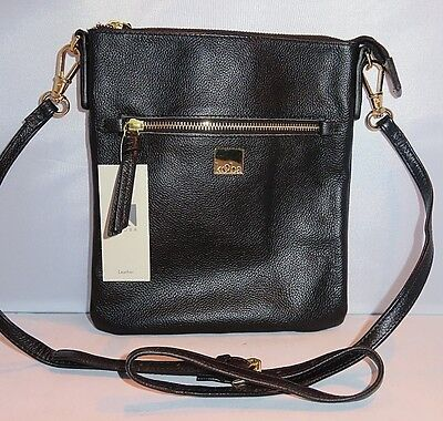 Kooba Crossbody Pebbled Textured Black Leather Handbag Bag Purse