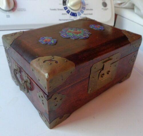 Wood Asian Jewelry Box Enamel Medallions, Brass Designs Shanghai