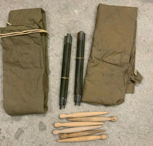 WW2 US Army COMPLETE Tent Early Khaki 1942 2xHalves 2xPoles 6xPegs 1xRope