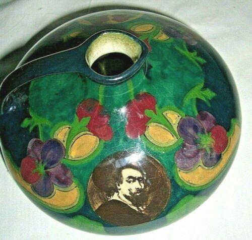 "Vtg Art Pottery Holland 5 ¼"" Diameter 3"" High Pitcher with Handle Portrait Inset"
