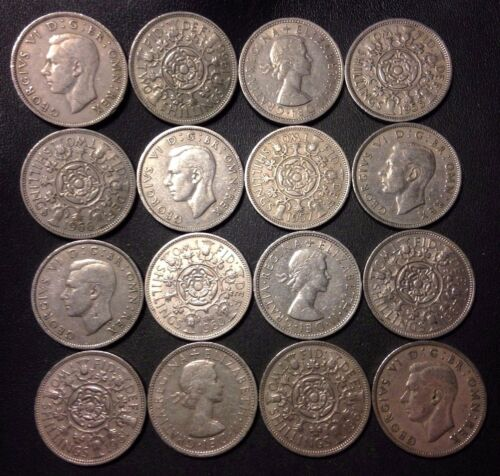 Vintage Great Britain Coin Lot - 16 FLORINS - FREE SHIPPING