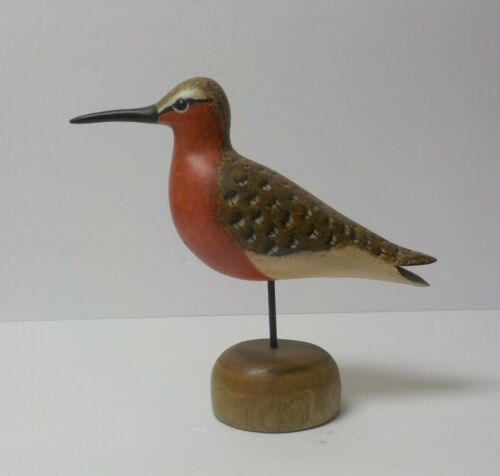 "Hand Carved & Painted Brimton 7.5"" Robin Snipe Shore Bird, dated 2004 (#6)"