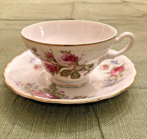 Vtg Lefton China Tea Cup and Saucer Pink Roses Hand Painted