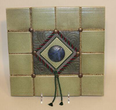 2003 Joyce E. Furney The Clay Cellar Studio Pottery Raku India Green Wall Tile ()