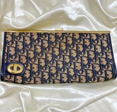 Authentic vintage Christian Dior trotter canvas leather long wallet purse pouch