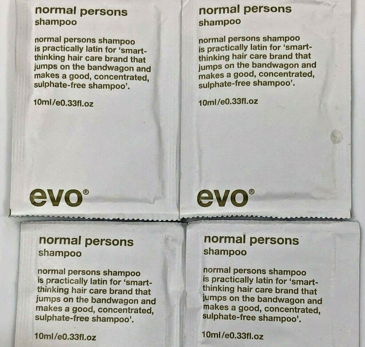 EVO Normal Persons Shampoo .33 oz Sample Size 4 Pack