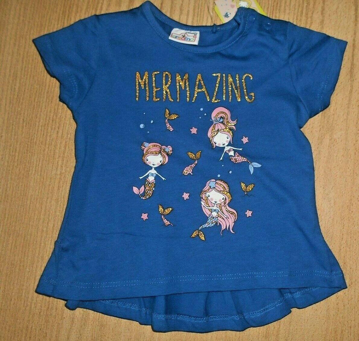 T-Shirt Meerjungfrau blau mit Bild Glitzer Mädchen  gr.68 - Neu