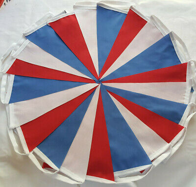 20 FT 21 FLAG 6m RED WHITE BLUE Fabric Bunting 75th anniversary VE DAY RWB